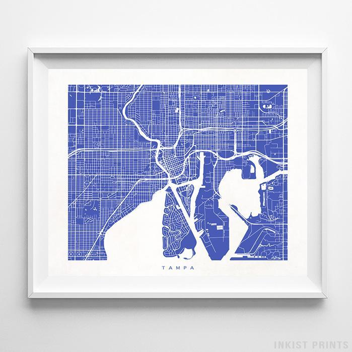 Tampa, Florida Street Map Horizontal Print-Poster-Wall_Art-Home_Decor-Inkist_Prints