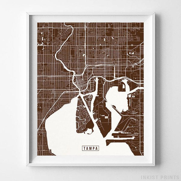Tampa, Florida Street Map Vertical Print-Poster-Wall_Art-Home_Decor-Inkist_Prints