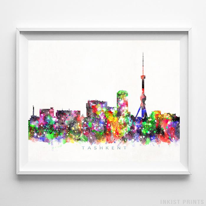 Tashkent, Uzbekistan Skyline Watercolor Print-Poster-Wall_Art-Home_Decor-Inkist_Prints