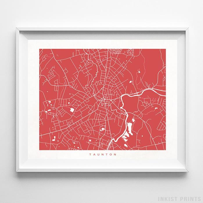 Taunton, Massachusetts Street Map Horizontal Print-Poster-Wall_Art-Home_Decor-Inkist_Prints
