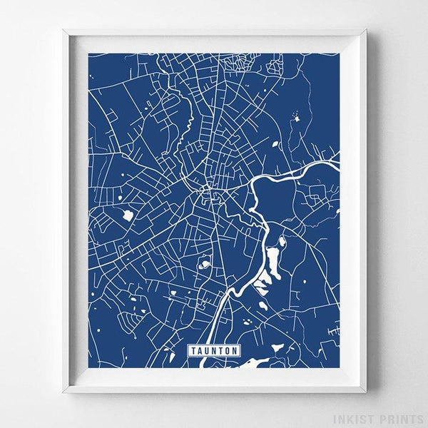 Taunton, Massachusetts Street Map Vertical Print-Poster-Wall_Art-Home_Decor-Inkist_Prints