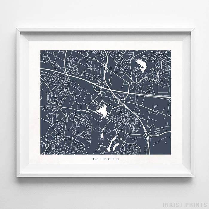 Telford, England Street Map Print Poster - Inkist Prints