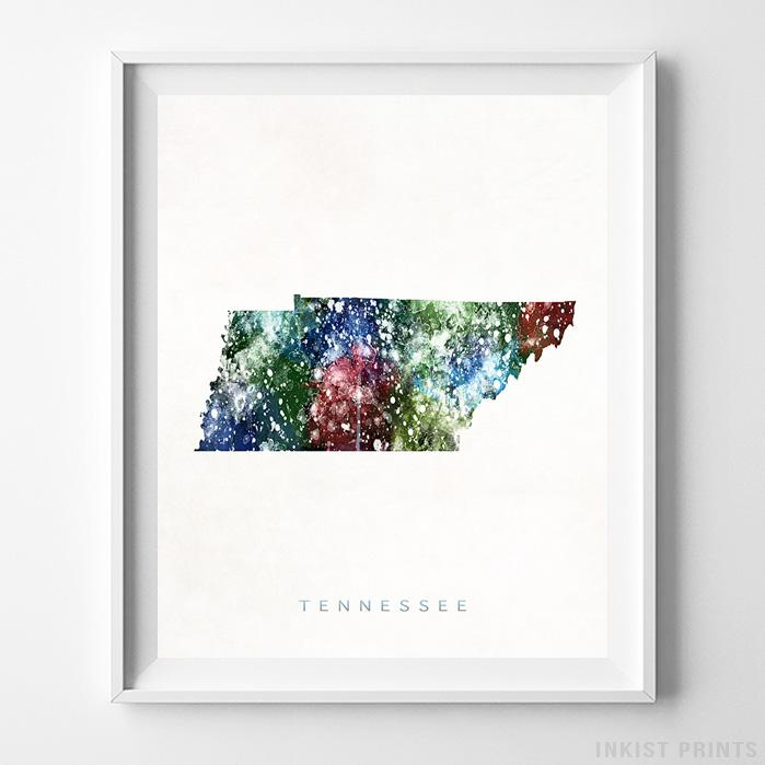 Tennessee Watercolor Map Print-Poster-Wall_Art-Home_Decor-Inkist_Prints