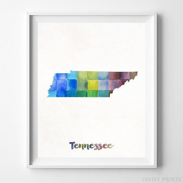 Tennessee Watercolor Map Print - Inkist Prints