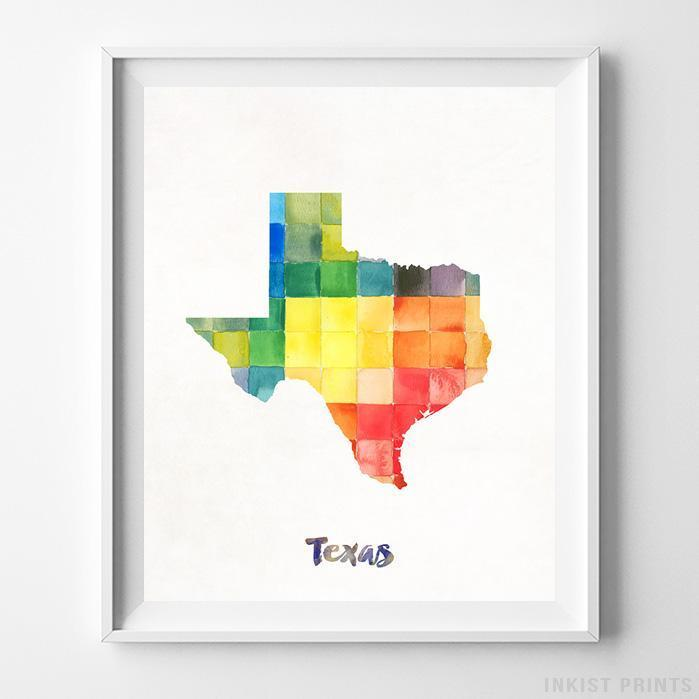 Texas Watercolor Map Print-Poster-Wall_Art-Home_Decor-Inkist_Prints