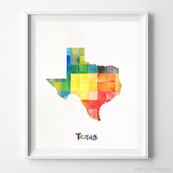 Texas Watercolor Map Print - Inkist Prints