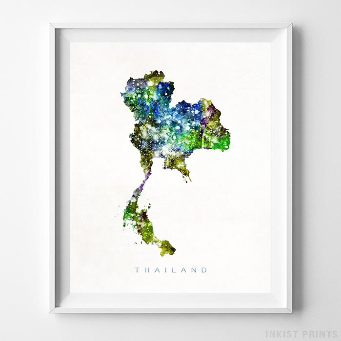 Thailand Watercolor Map Print - Inkist Prints