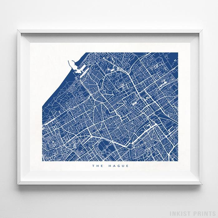 The Hague, The Netherlands Street Map Horizontal Print-Poster-Wall_Art-Home_Decor-Inkist_Prints
