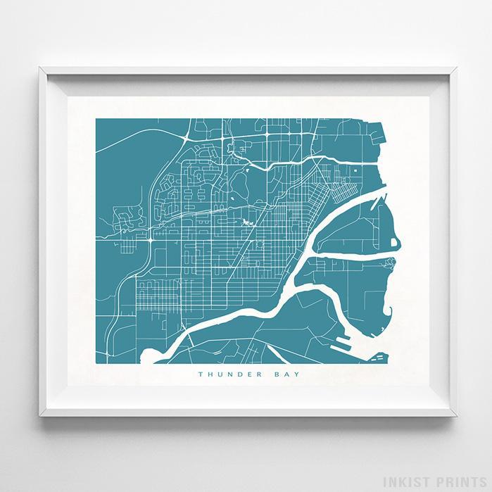 Thunder Bay, Canada Street Map Horizontal Print-Poster-Wall_Art-Home_Decor-Inkist_Prints