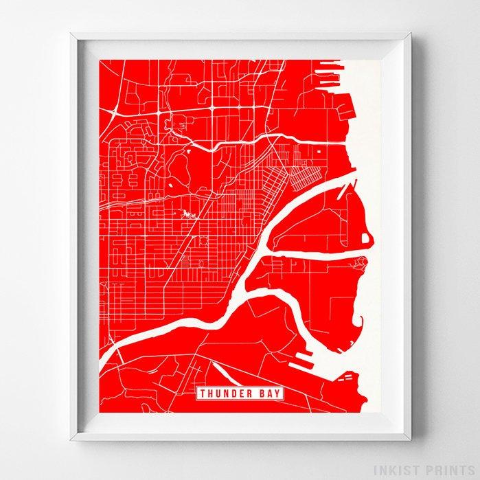 Thunder Bay, Canada Street Map Vertical Print-Poster-Wall_Art-Home_Decor-Inkist_Prints