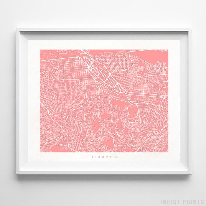 Tijuana, Mexico Street Map Horizontal Print-Poster-Wall_Art-Home_Decor-Inkist_Prints