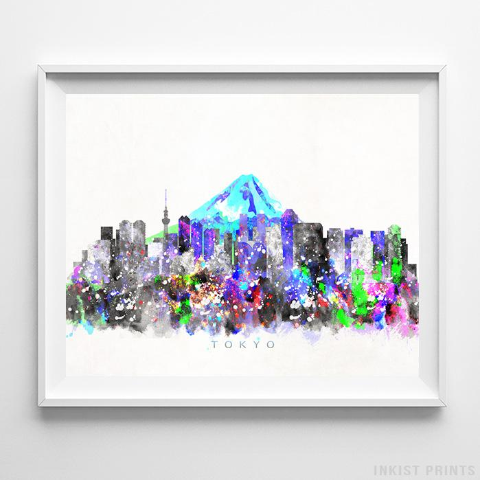 Tokyo, Japan Skyline Watercolor Print-Poster-Wall_Art-Home_Decor-Inkist_Prints