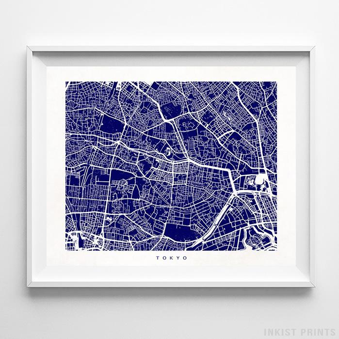 Tokyo, Japan Street Map Horizontal Print-Poster-Wall_Art-Home_Decor-Inkist_Prints