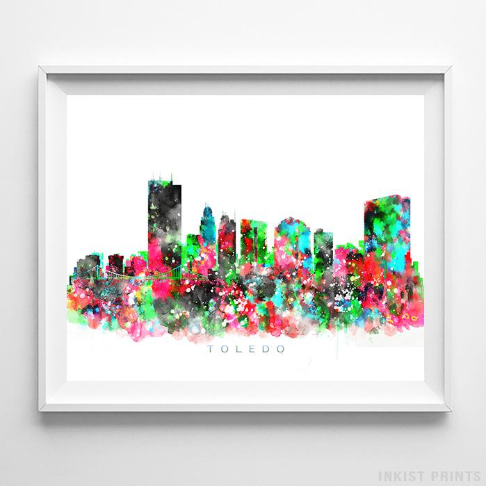 Toledo, Ohio Skyline Watercolor Print-Poster-Wall_Art-Home_Decor-Inkist_Prints