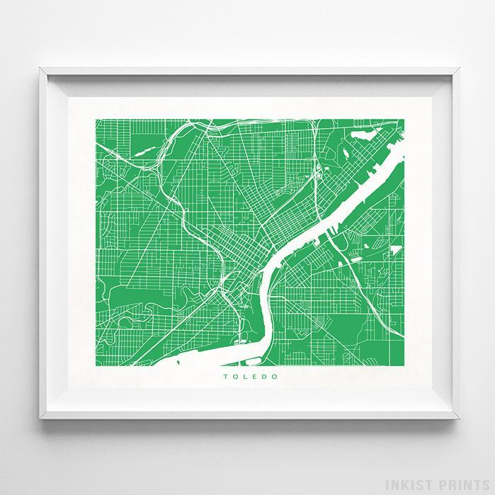 Toledo, Ohio Street Map Print - Inkist Prints