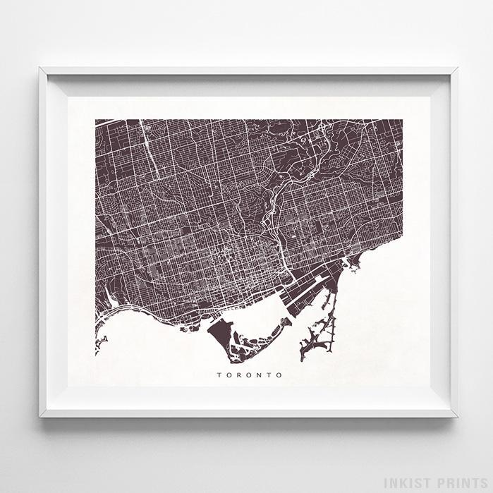 Toronto, Canada Street Map Horizontal Print-Poster-Wall_Art-Home_Decor-Inkist_Prints