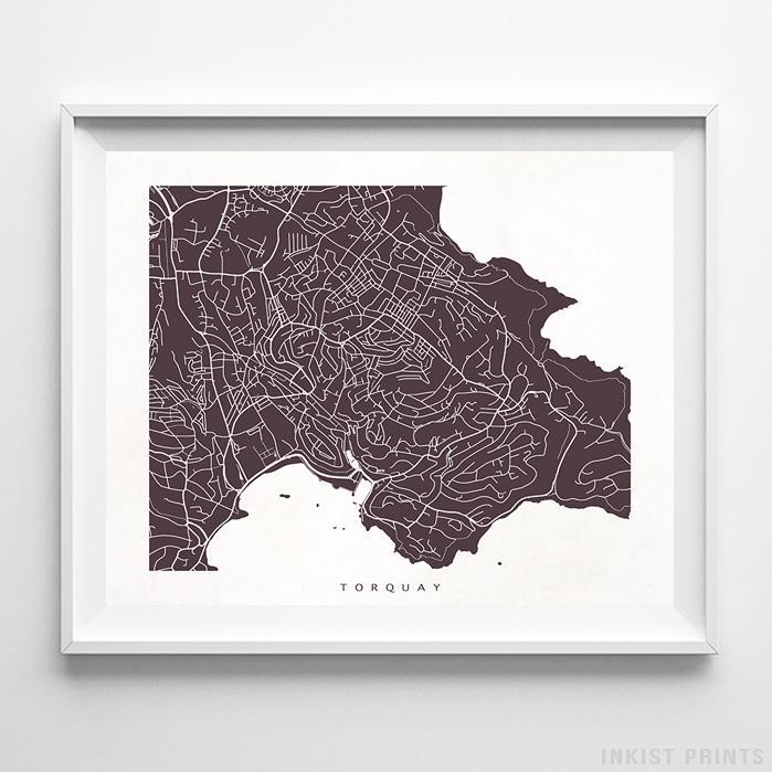 Torquay, England Street Map Horizontal Print-Poster-Wall_Art-Home_Decor-Inkist_Prints