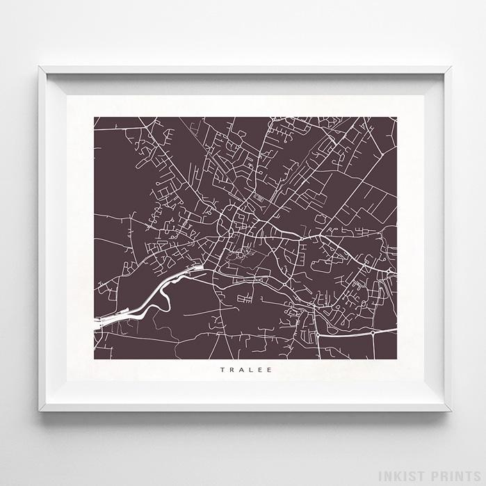 Tralee, Ireland Street Map Print Poster - Inkist Prints