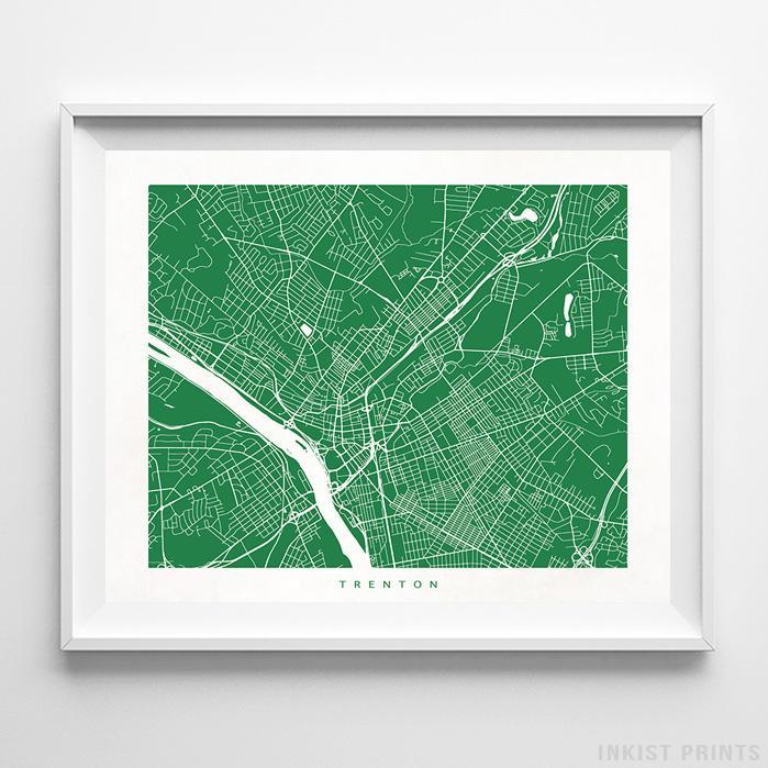 Trenton, New Jersey Street Map Horizontal Print-Poster-Wall_Art-Home_Decor-Inkist_Prints