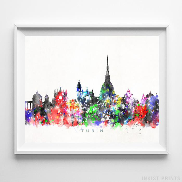 Turin, Italy Skyline Watercolor Print - Inkist Prints