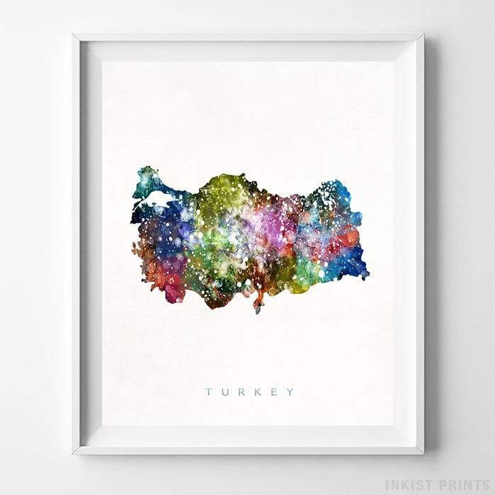 Turkey Watercolor Map Print-Poster-Wall_Art-Home_Decor-Inkist_Prints