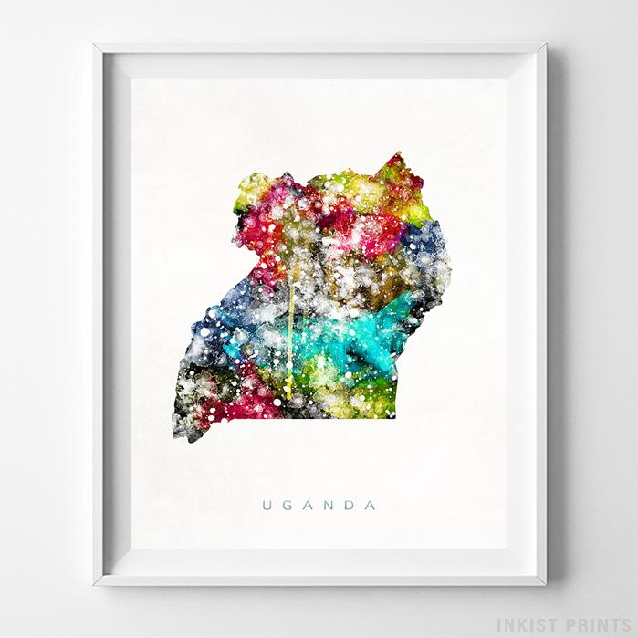 Uganda Watercolor Map Print - Inkist Prints