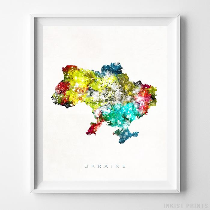 Ukraine Watercolor Map Print-Poster-Wall_Art-Home_Decor-Inkist_Prints