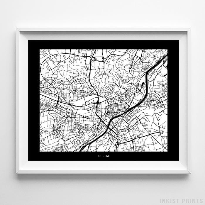 Ulm, Germany Street Map Horizontal Print-Poster-Wall_Art-Home_Decor-Inkist_Prints