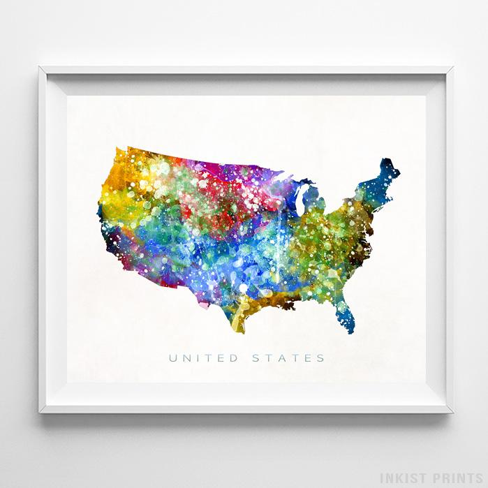 United States Watercolor Map Print - Inkist Prints