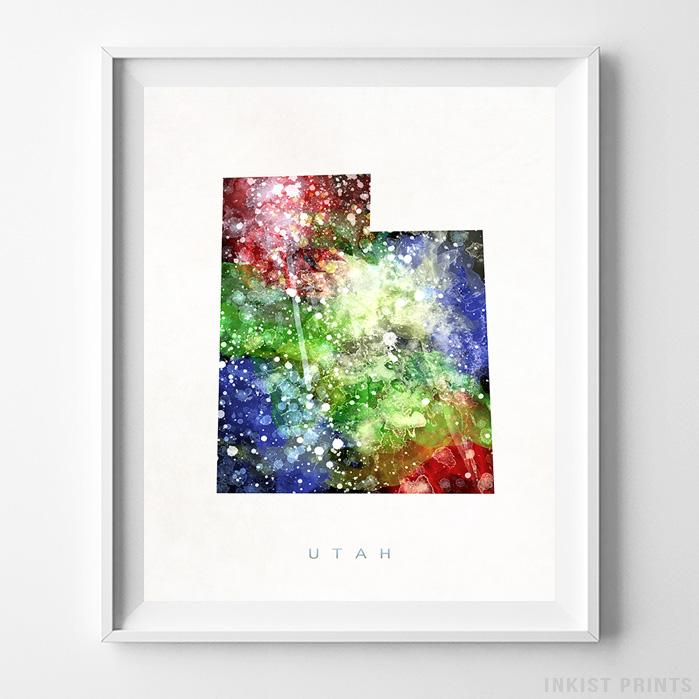 Utah Watercolor Map Print - Inkist Prints