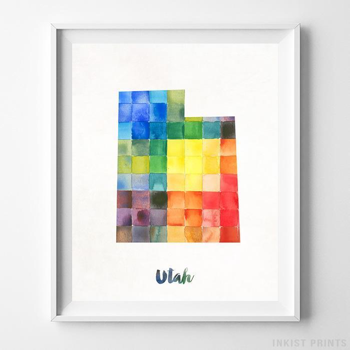 Utah Watercolor Map Print Wall Art Poster by Inkist Prints