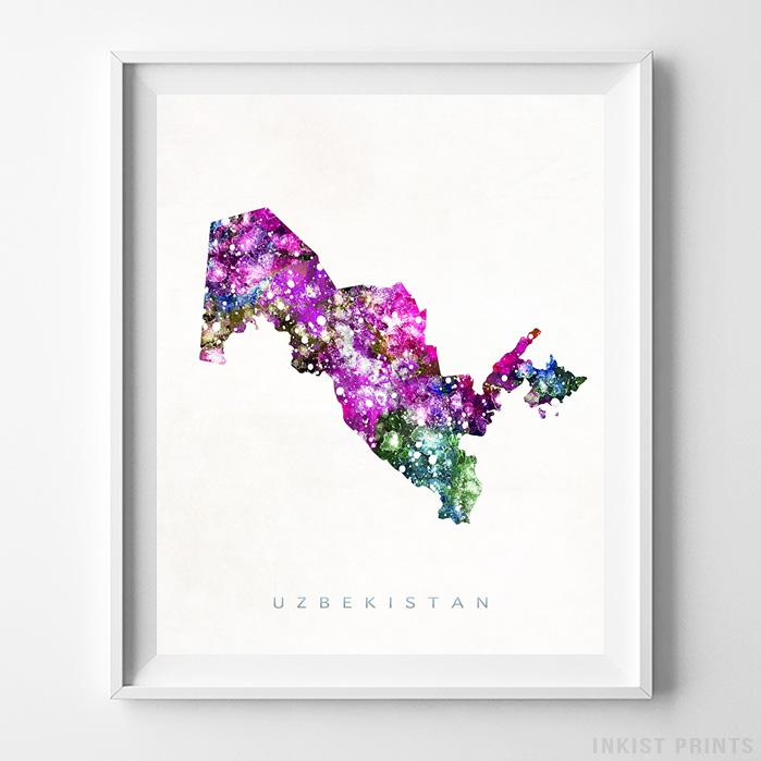 Uzbekistan Watercolor Map Print-Poster-Wall_Art-Home_Decor-Inkist_Prints