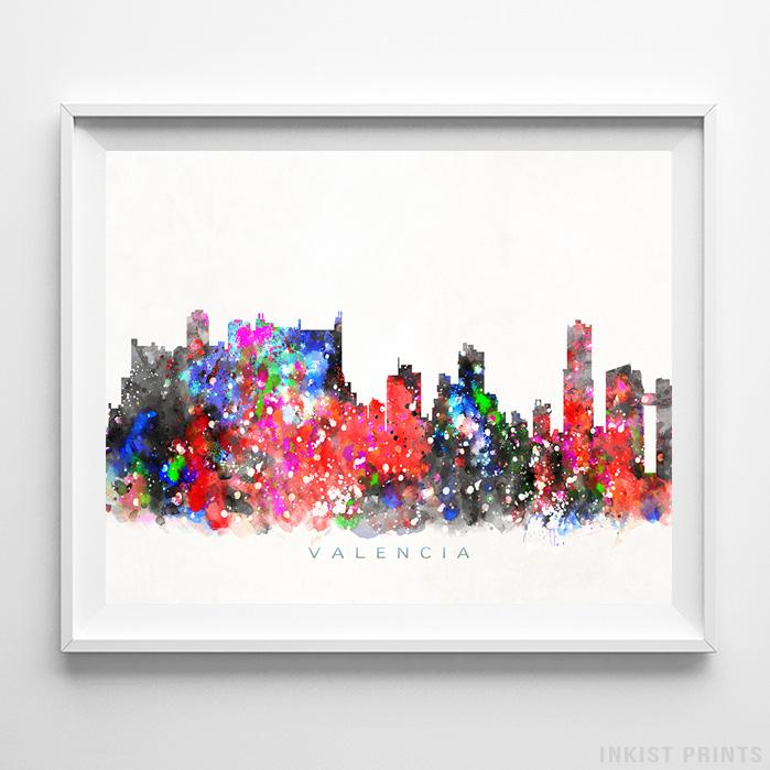 Valencia, Spain Skyline Watercolor Print Wall Art Poster by Inkist Prints