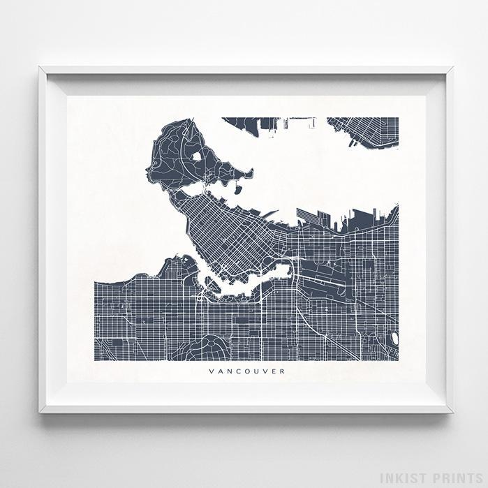 Vancouver, Canada Street Map Horizontal Print-Poster-Wall_Art-Home_Decor-Inkist_Prints