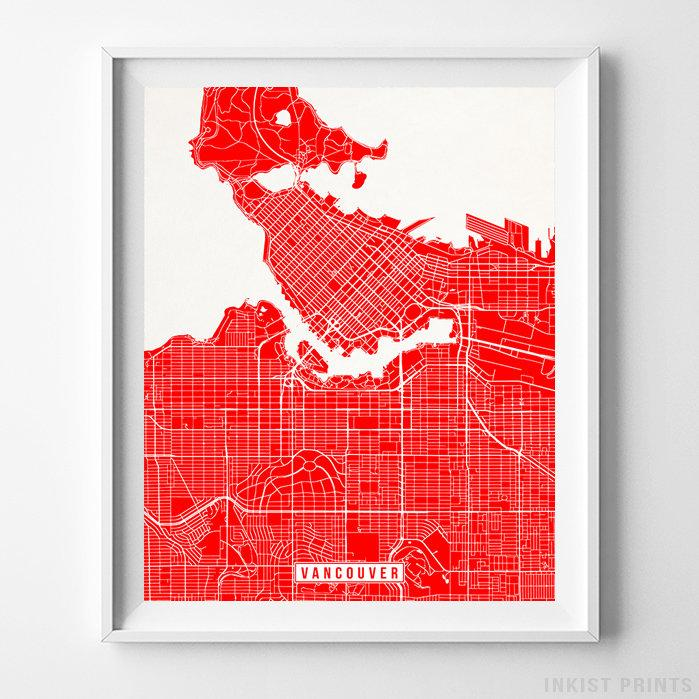 Vancouver, Canada Street Map Vertical Print-Poster-Wall_Art-Home_Decor-Inkist_Prints