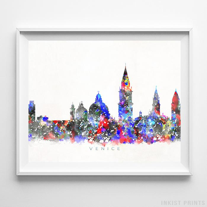 Venice, Italy Skyline Watercolor Print-Poster-Wall_Art-Home_Decor-Inkist_Prints