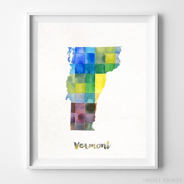 Vermont Watercolor Map Print - Inkist Prints