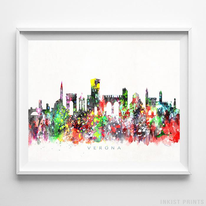 Verona, Italy Skyline Watercolor Print-Poster-Wall_Art-Home_Decor-Inkist_Prints