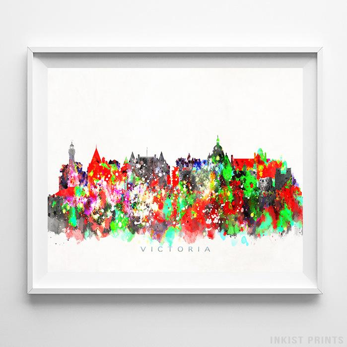 Victoria, Canada Skyline Watercolor Print Wall Art Poster by Inkist Prints