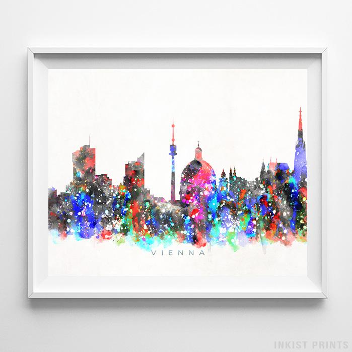 Vienna, Austria Skyline Watercolor Print-Poster-Wall_Art-Home_Decor-Inkist_Prints