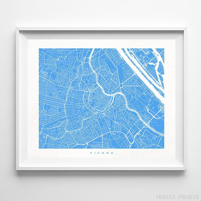 Vienna, Austria Street Map Horizontal Print-Poster-Wall_Art-Home_Decor-Inkist_Prints