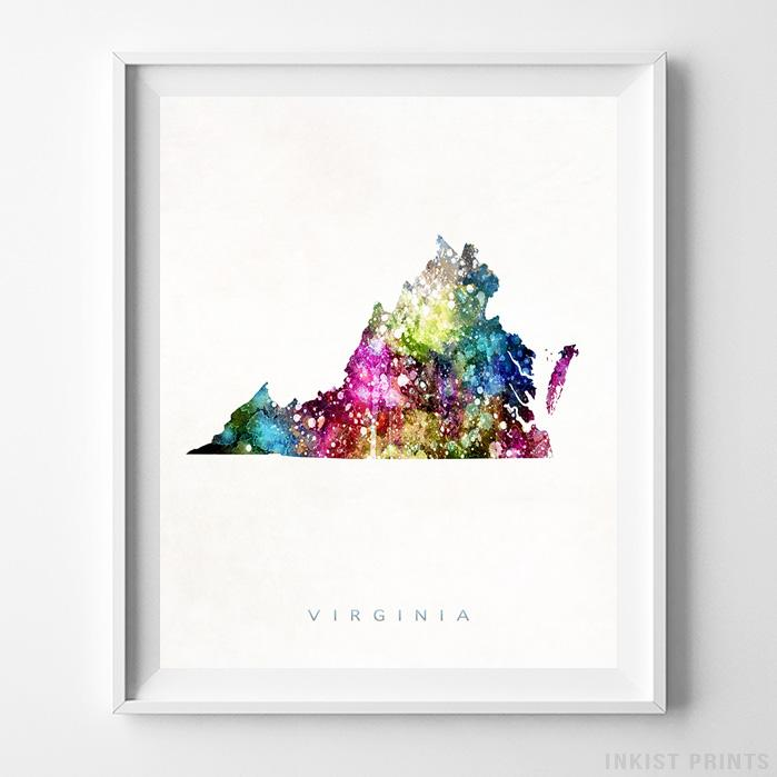 Virginia Watercolor Map Print Wall Art Poster by Inkist Prints