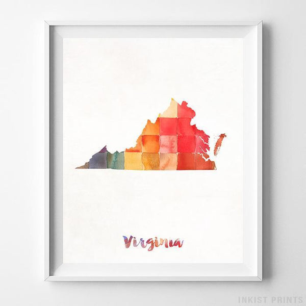 Virginia Watercolor Map Print - Inkist Prints