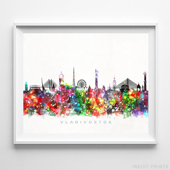 Vladivostok, Russia Skyline Watercolor Print-Poster-Wall_Art-Home_Decor-Inkist_Prints