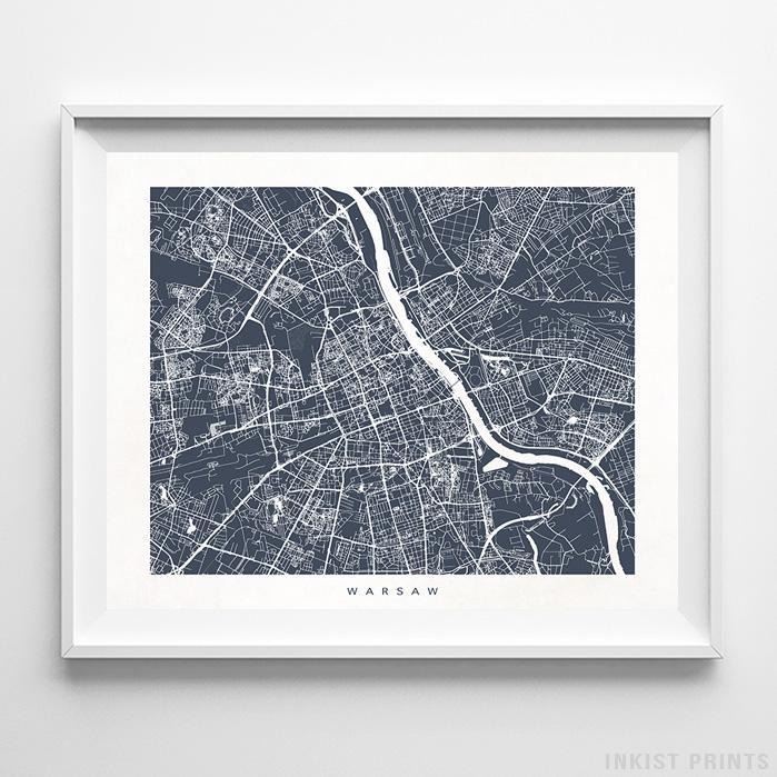 Warsaw, Poland Street Map Horizontal Print-Poster-Wall_Art-Home_Decor-Inkist_Prints