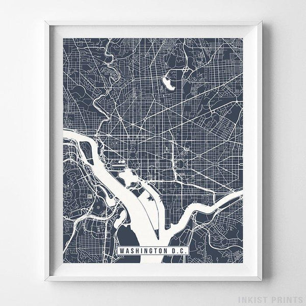 Washington DC, Map Print Street Map Vertical Print-Poster-Wall_Art-Home_Decor-Inkist_Prints