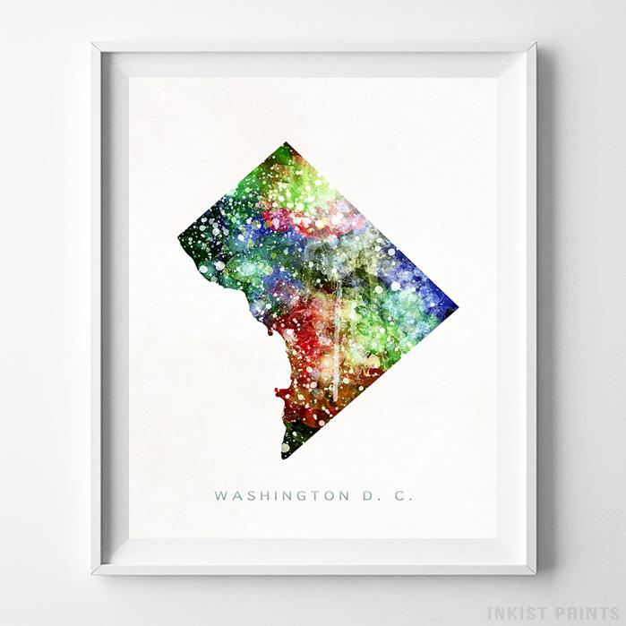 Washington DC Watercolor Map Print-Poster-Wall_Art-Home_Decor-Inkist_Prints