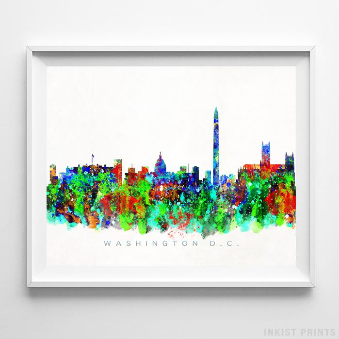 Washington, District of Columbia Skyline Watercolor Print - Inkist Prints