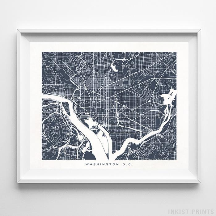 Washington, District of Columbia Street Map Horizontal Print-Poster-Wall_Art-Home_Decor-Inkist_Prints