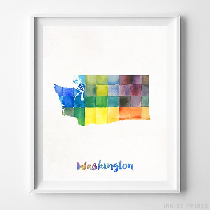 Washington Watercolor Map Print - Inkist Prints